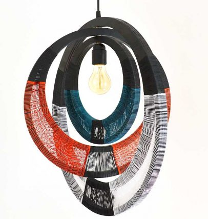 String Pendant Lamps Inspired by Traditional African Jewellery