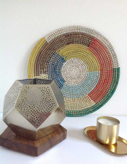 Basket made in Senegal and Moroccan lamp