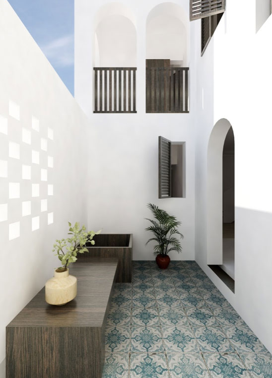 DO Architecture VILLA La Bianca Somalia tiled white courtyard