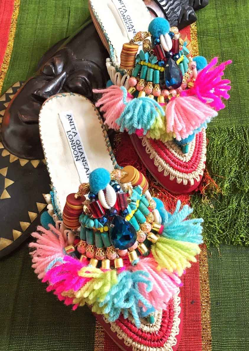 Anita Quansah colourful Hand beaded raffia slip on shoes