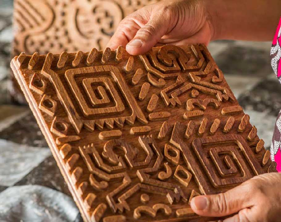 Handmade Batik In Ghana Carved wooden stamp
