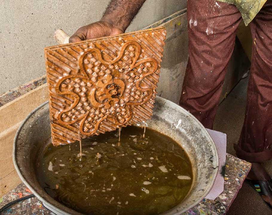 Handmade Batik In Ghana stamp dipped in wax