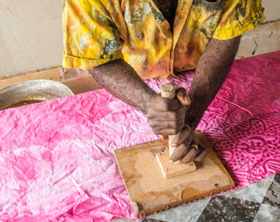Handmade Batik In Ghana stamp the cloth