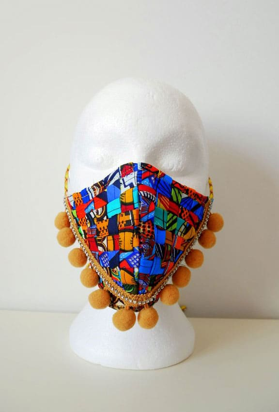 Reusable Washable Mixed African Print Weave Face Mask With Pom Poms And Rhinestones Anita Quansah
