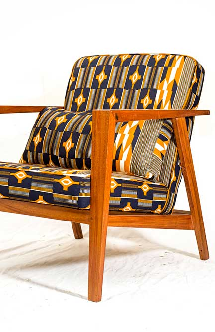 Workshop Nairobi Guernsey Arm Mid Century Modern Chair covered in African wax cloth