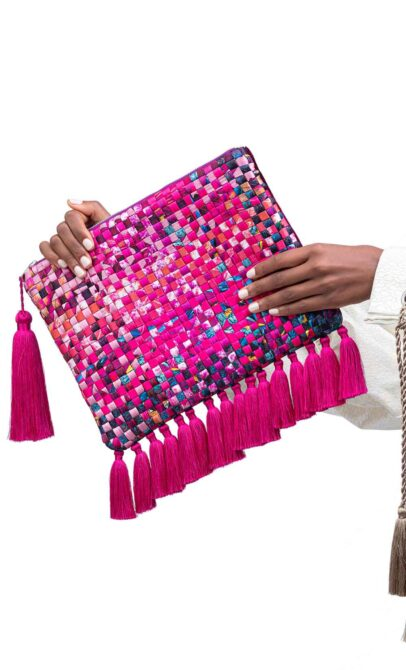 Luxurious Tasselled Silk Masquerade Clutch Collection by Textile Designer Banke Kuku Pink