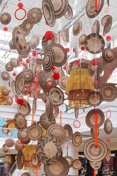 Zimbabwean Tonga baskets and beaded Tutu Light Pendant